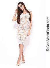 dress., fénykép, pazar, kisasszony, fényűzés, mód