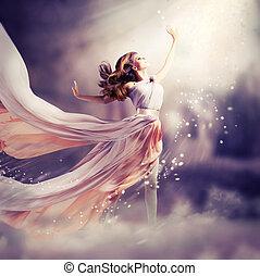 dress., leány, fárasztó, sifón, képzelet, színhely, hosszú, gyönyörű
