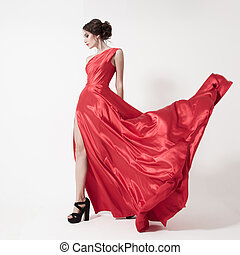 dress., szépség, fiatal, háttér., nő, fehér, csapkodó, piros