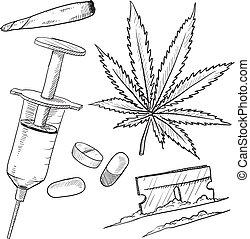 drogok, illegális, skicc, kifogásol