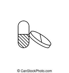 drogok, vektor, áttekintés, ábra, ikon