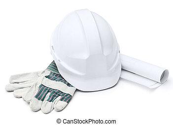 druft, fehér, nehéz kalap, pár kesztyű