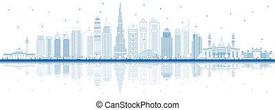 dubai, reflections., uae uae uae, épületek, láthatár, város, áttekintés, kék