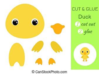duck., vektor, dolgozat, játék, csecsemő, karikatúra, kifejleszt, oktatás, paper., részvény, children., preschool, elvág, alkatrészek, színes, kép, illustration., szín, character., worksheet., ragasztó