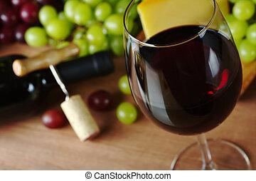 dugóhúzó, sajt, palack, glass), elülső, összpontosít, bedugaszol, pohár, összpontosít, abroncs, háttér, (selective, szőlő, vörös bor