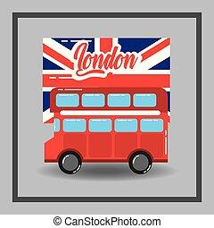 dupla decker, lobogó, london, piros, autóbusz, általános szállít