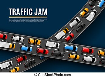 dzsem, autók, út, vektor, vezetés, poszter, forgalom