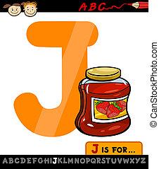 dzsem, j, levél, ábra, karikatúra