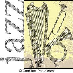 dzsessz, vektor, sketch., ábra