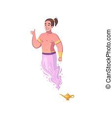 dzsinn, karikatúra, ikon