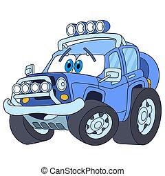 dzsip, autó, karikatúra