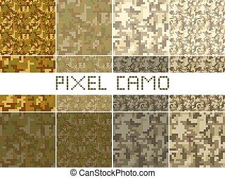 dzsungel, motívum, nagy, camouflages., városi, erdő, set., seamless, zöld, camo, barna, fénykép