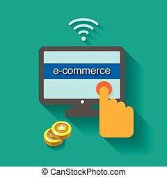 e-commerce, ábra, fogalom, vektor