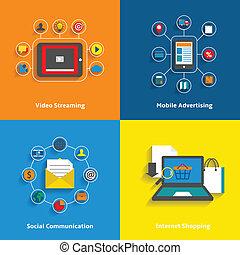 e-commerce, állhatatos, ikonok