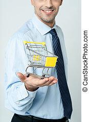 e-commerce, összead, concept., kordé