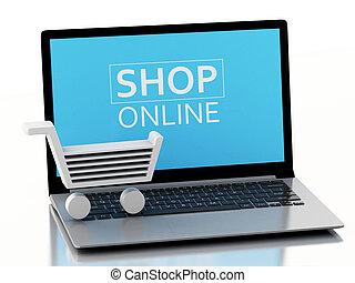 e-commerce, bevásárlás, laptop., kordé, 3, fogalom