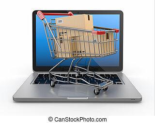 e-commerce., bevásárlás, laptop., kordé