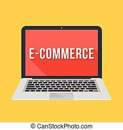 e-commerce, laptop, vektor, szó