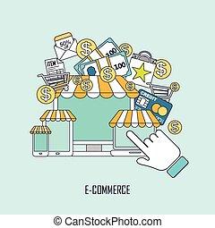 e-commerce, mód, fogalom, egyenes, híg
