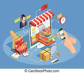 e-commerce, poszter, bevásárlás, isometric, fogalom