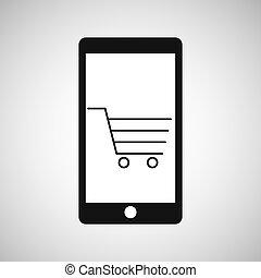e-commerce, smartphone, grafikus, bevásárlókocsi