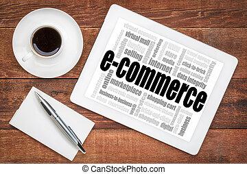 e-commerce, szó, felhő, tabletta
