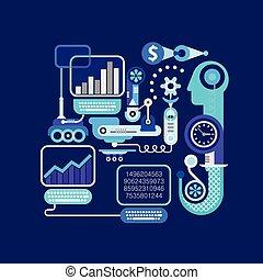 e-commerce, vektor, ábra