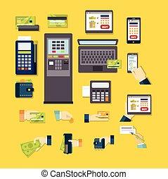 e-commerce, vektor, állhatatos, ábra
