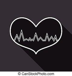 ecg, szív, lakás, hosszú, árnyék, ikon