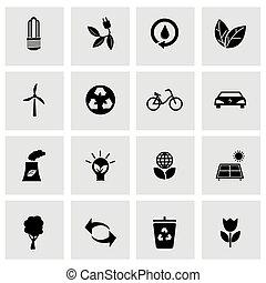 eco, állhatatos, fekete, vektor, ikonok