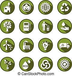 eco, állhatatos, zöld, vektor, ikonok