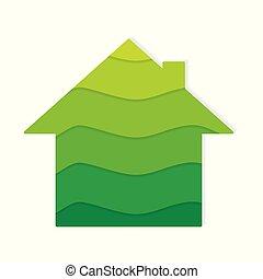 eco, épület, barátságos, ikon