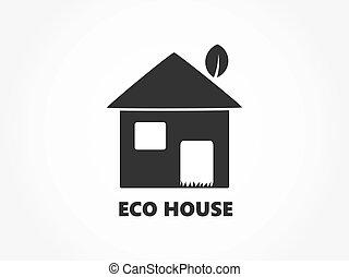 eco, épület, icon., barátságos