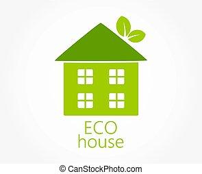 eco, épület, icon., zöld, barátságos