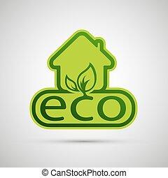 eco, épület, vektor