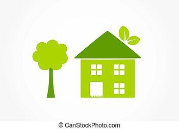 eco, épület, zöld, barátságos, ikon