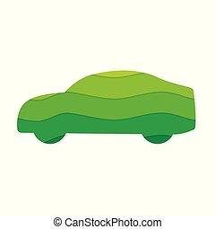 eco, autó, barátságos, ikon