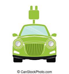 eco, autó, kép, barátságos, ikon