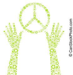 eco, béke, vektor, háttér, aláír