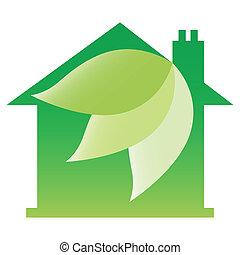 eco, barátságos, épület, design.