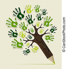 eco, ceruza, fa, barátságos, kézbesít