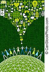 eco, emberek, világ, zöld