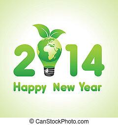 eco, földdel feltölt, év, új, kreatív