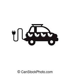 eco, fekete, ikon, fehér, autó, lakás