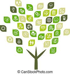 eco, háló, fa, háttér, icons.