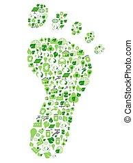 eco, ikonok, barátságos, megtöltött, lábnyom, ökológia, zöld