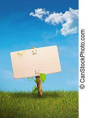 eco, kommunikáció, -, aláír, zöld, barátságos