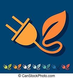 eco, lakás, design:, levél növényen, bedugaszol