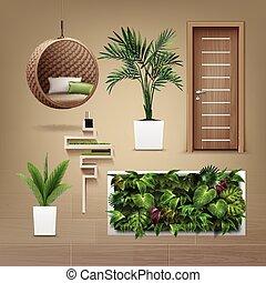 eco-minimalist, vektor, berendezés