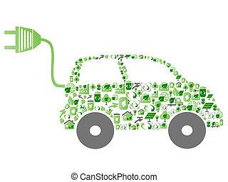 eco, motívum, ikon, zöld autó